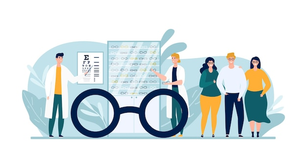 Optic store with glasses, vector illustration. man woman people character at eye examination, buying eyeglasses in ophthalmology shop.