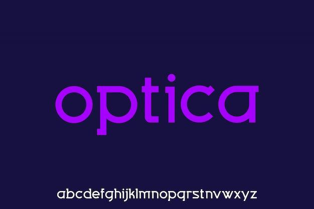 光学、モダンな幾何学的な小文字のアルファベットセットの表示フォント