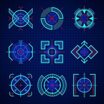 광학적 조준. 저격 총 게임 무기의 uix는 미래 기술 세트 hud 스타일에 중점을 둡니다.