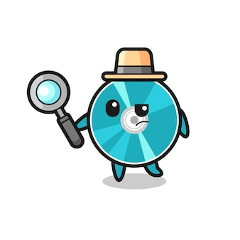 Optical disc detective character is analyzing a case , cute style design for t shirt, sticker, logo element