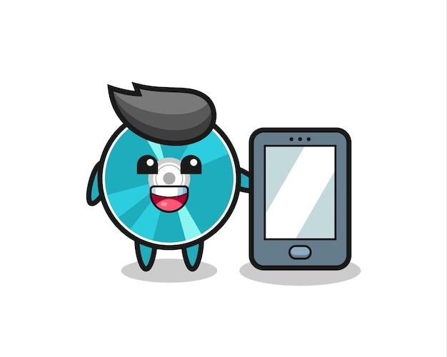 스마트폰을 들고 있는 광 디스크 그림 만화, 티셔츠, 스티커, 로고 요소를 위한 귀여운 스타일 디자인
