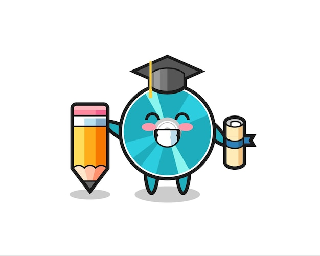 Optical disc illustration cartoon is graduation with a giant pencil , cute style design for t shirt, sticker, logo element