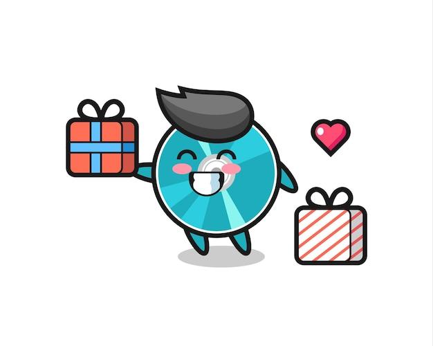 Optical disc mascot cartoon giving the gift , cute style design for t shirt, sticker, logo element
