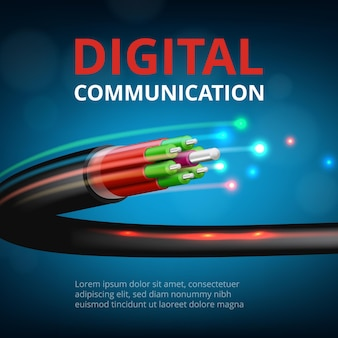 Optical fast connection. future technology cyber internet communication  realistic concept background.
