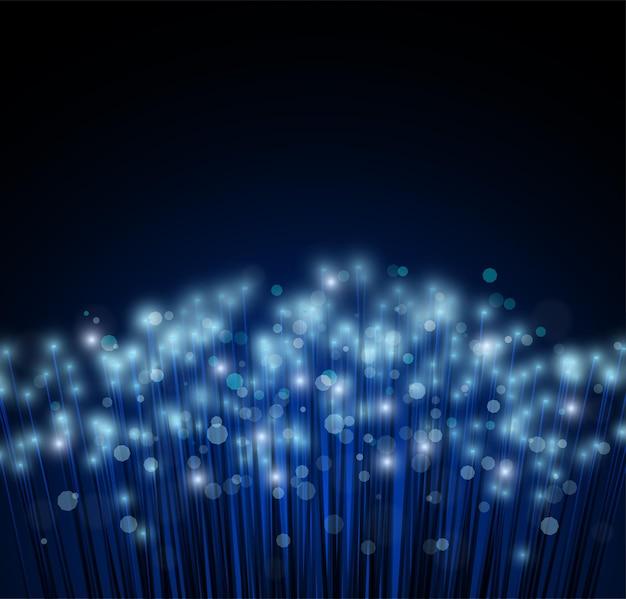 빛과 정보 전송을 위한 광섬유. 어두운 배경과 빛나는 섬유. 고속으로 데이터 전송. 컴퓨터 네트워크.