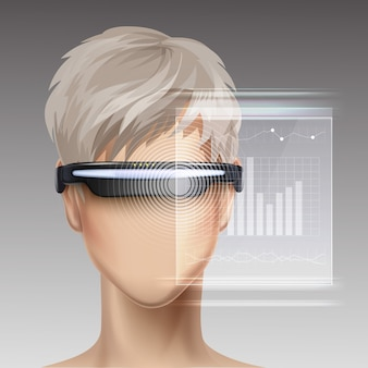 Optical head-mounted display or virtual reality glasses on faceless mannequin with futuristic holographic touchscreen interface front view
