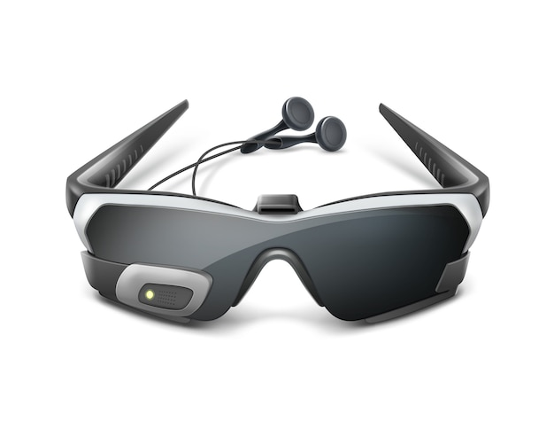 Optical head-mounted display or virtual reality glasses with headphones front view
