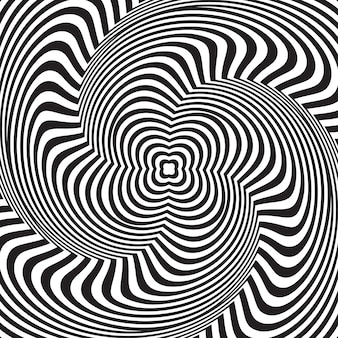 Optical illusion. abstract background with wavy pattern. black-white striped swirl