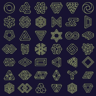 Optical illusion impossible shapes geometric square and triangle paradox figures vector set
