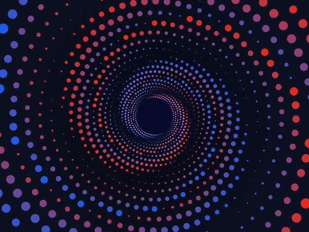 착시 나선형 점선 배경 기하학적 그라데이션 원활한 패턴 프리미엄 벡터