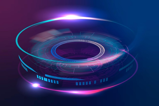 Optical lens advanced technology vector graphic in neon purple
