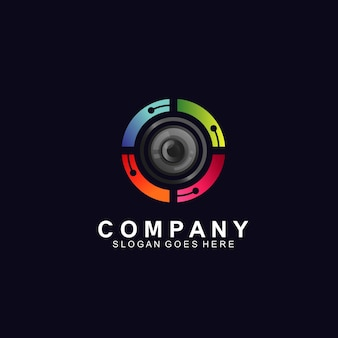 技術ロゴコンセプトの光学レンズ