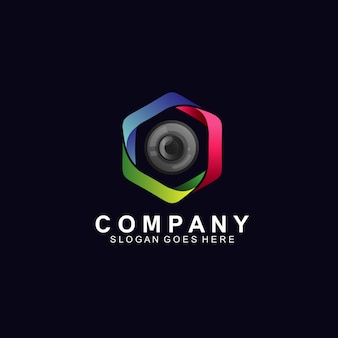Optical lens in technology logo design