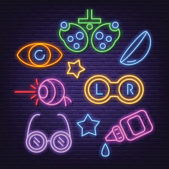 Optical neon icons set