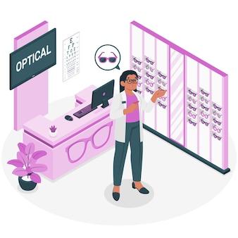 Illustrazione del concetto di negozio di ottica