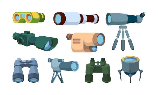광학 망원경. 항목 탐색 도구 벡터 컬렉션을 찾는 여행자를 위한 쌍안경. 탐험을 위한 그림 망원경 광학 및 발견 쌍안경