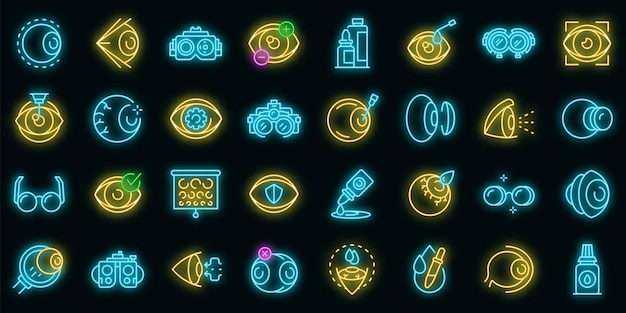 Optician icons set. outline set of optician vector icons neon color on black Premium Vector