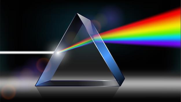 광학 물리학. 하얀 빛이 프리즘을 통해 빛납니다.