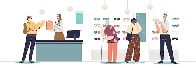 안경을 선택하고 구매하는 사람들이 있는 광학 매장 내부. 안경 방문자가 컨설턴트와 함께 안경을 착용하는 현대적인 상점. 만화 평면 벡터 일러스트 레이 션