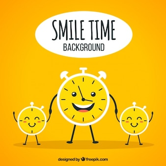 Optimistic background with smiling clocks