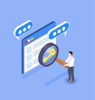 Optimization and keyword searching isometric composition with character holding magnifying glass illustration