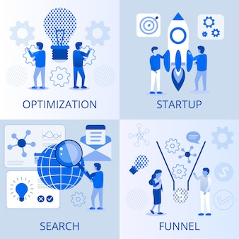 Optimization startup search funnel business set