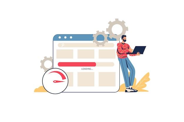 ウェブサイトのウェブコンセプトを最適化します。男性デザイナーのセットアップとテストサイト。プログラマーはコードを書き、ブラウザーでページを管理します。最小限の人のシーンです。ウェブサイトのフラットなデザインのベクトル図