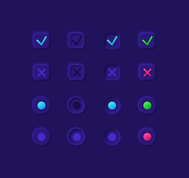 Option boxes ui elements kit. confirmation and cancellation   icon, bar and dashboard template. web  widget collection for mobile application with dark theme interface