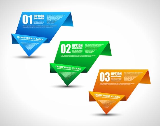 인포 그래픽, 브로셔 또는 비즈니스 프레젠테이션을위한 종이 접기 용지 스타일의 옵션 태그. 3 가지 색상.