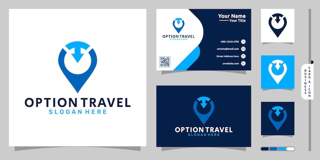 Option travel logo with pin and arrow concept and business card design premium vector