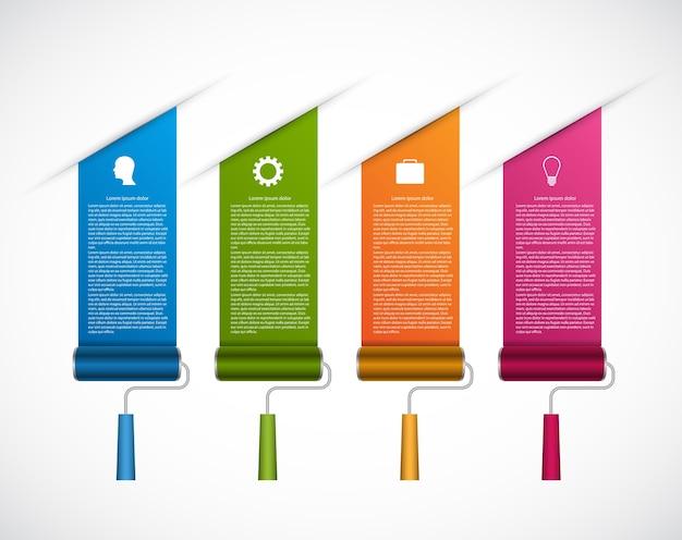 Options infographics. design options banner. drawn roller brush.