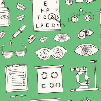 Optometry hand drawn doodle seamless pattern