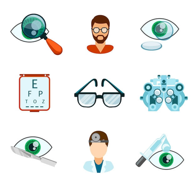 Optometry and optical icons flat set. pipette and oculist, eye analyze, ophthalmology and treatment,