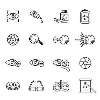 Optometry related icons set