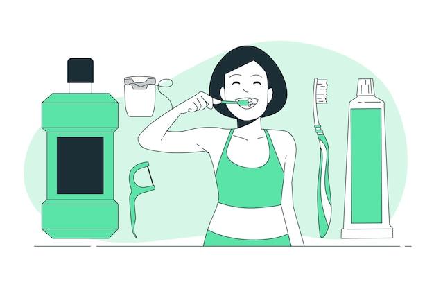 Иллюстрация концепции ухода за полостью рта