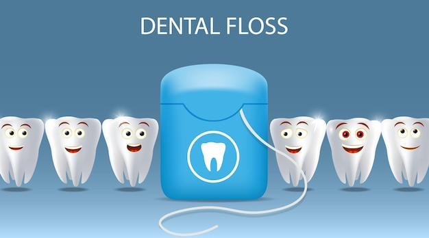 Oral care dental floss vector poster banner template kids oral health teeth cleaning and hygiene chi...