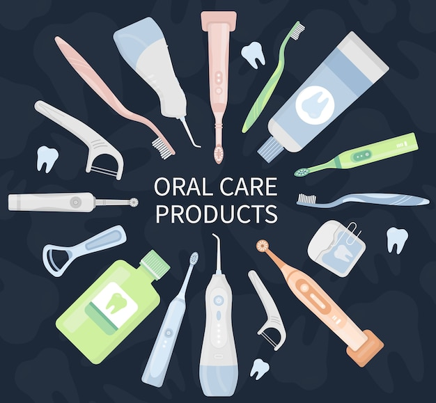 Oral care hygiene products and dental cleaning tools on dark background.