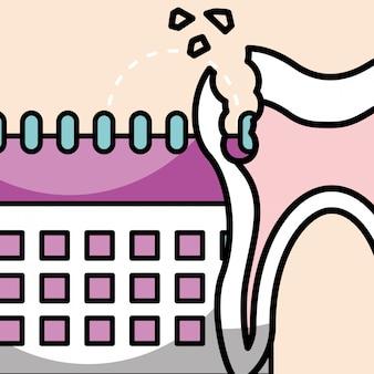 Oral hygiene broken tooth and calendar