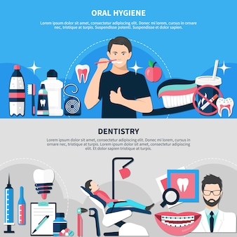 Oral hygiene and dentistry banners