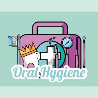 Oral hygiene tooth crown kit brush tools dental
