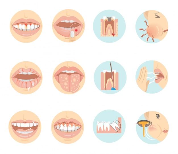 구강 문제. 원 안에 이빨과 입.