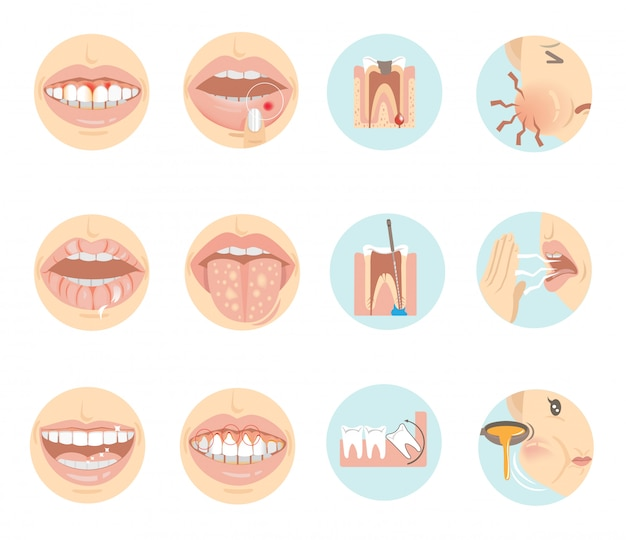 Oral problems.  teeth and mouth in a circle.