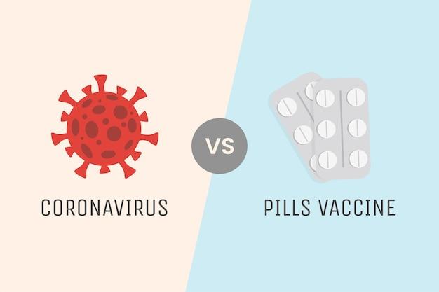 경구 용 백신 정제 대 코로나 바이러스 세포.