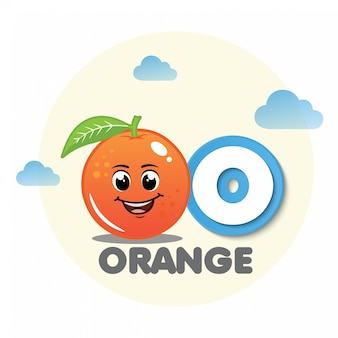 Orang fruit mascot with letter o