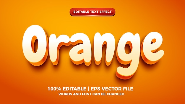 오렌지 3d 만화 편집 가능한 텍스트 효과