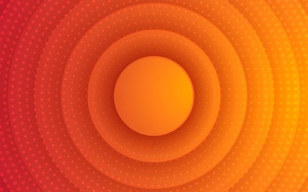 オレンジ色の3 dサークルpapercut背景