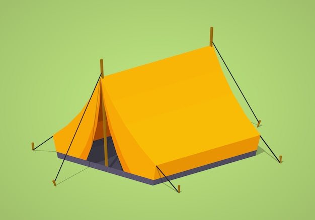 Orange 3d lowpoly isometric camping tent
