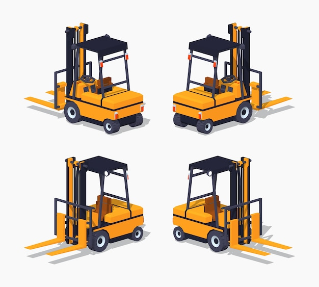 Orange 3d lowpoly isometric forklift truck