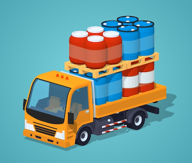 Orange 3d lowpoly isometric truck loaded with barrels