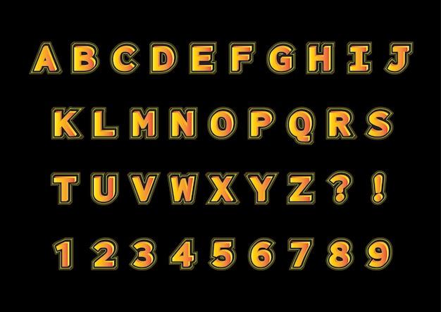 오렌지 3d 모양의 알파벳 숫자 세트